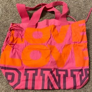 PINK tote with peace sign